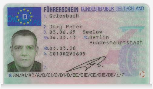 Foto des Scheckkartenführerscheins Front